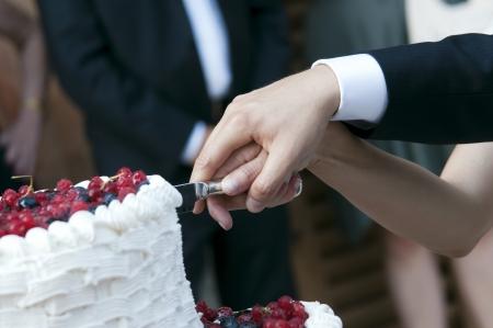 pastel de bodas: novia y el novio cortaron la torta de la boda