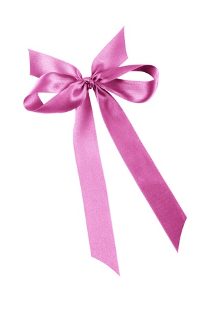 and pink ribbon: pink ribbon with bow, isolated on white
