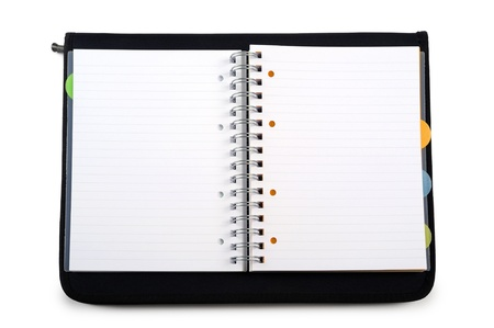 organizer page: open agenda with black cover, on white background