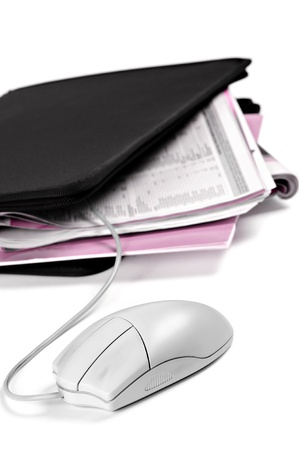 business briefcase: folder with documents and mouse, vertical image Stock Photo
