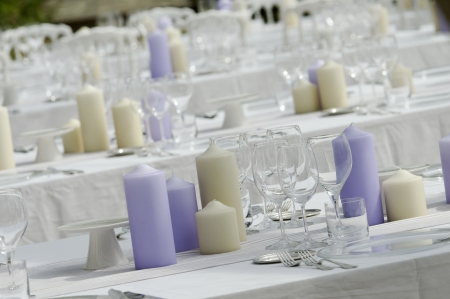 wedding chairs: table set for open wedding party Stock Photo