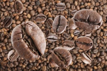 coffee beans rain on coffee beans background