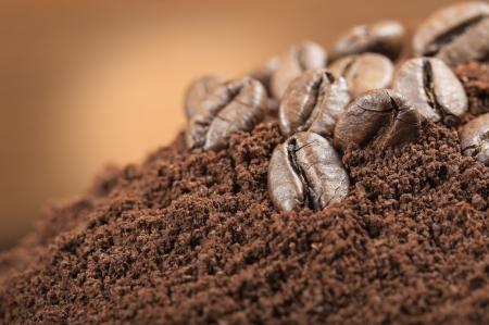 coffee grounds: coffee beans closeup on coffee grounds Stock Photo