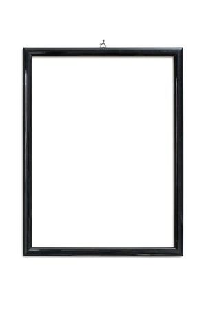 marco blanco y negro: marco negro que cuelga en las u�as, aislado en blanco