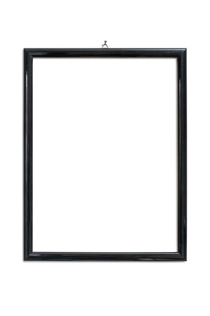 black picture frame hanging on nail, isolated on white Standard-Bild