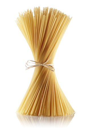 bunch of spaghetti on white background Stock Photo