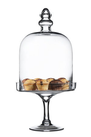 cakestand: glass cake-stand with variety of muffins, on white background