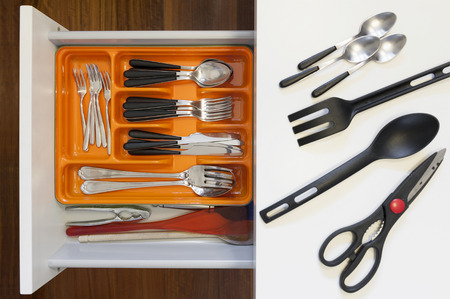 compartments: kitchen drawer with compartments for cutlery
