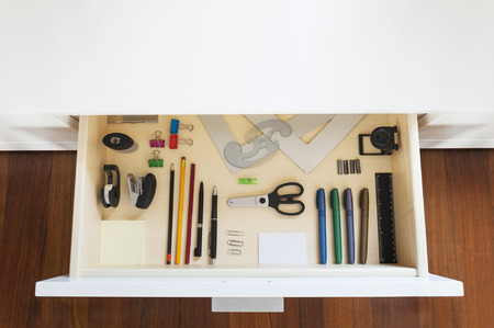 office cabinet: drawer with tools and accessories for drawing and office