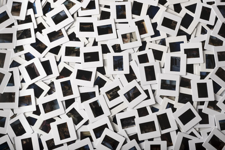 stack of hundreds of photo slides of varius kinds Stock Photo