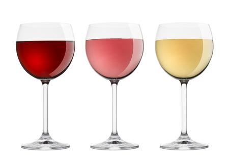 wijnglazen met een verscheidenheid aan wijnen, op een witte achtergrond