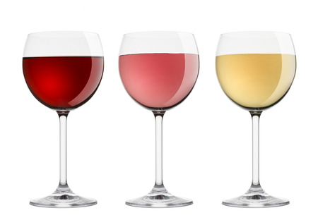 wineglasses with variety of wines, on white background Stock Photo