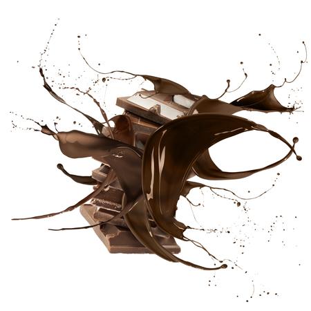 chocolatera: chocolate líquido chapoteo torno a la pila de bloques de chocolate, aislado en blanco Foto de archivo