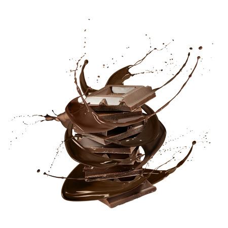 liquid chocolate: liquid splash chocolate around stack of chocolate blocks, isolated on white