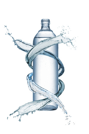 bottle of natural water with splash water around, isolated on white
