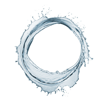 circle of natural water with splashing around, isolated on white Standard-Bild