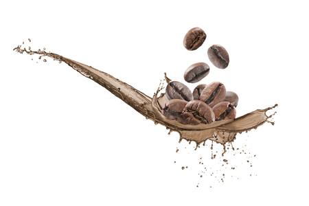 coffee beans falling down on wave of coffee Stock Photo