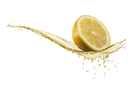 lemon slice: wave of lemon juice with lemon slice, isolated on white