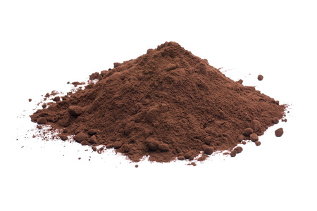heap of dark cocoa powder on white background