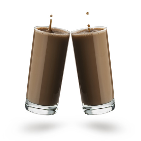 two glasses with chocolate milk with dripping spash on white background