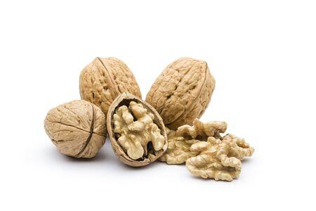 open walnut closeup on white background