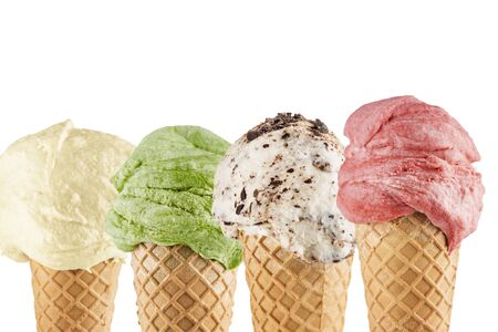 Ice cream cones closeup with different flavors on white background