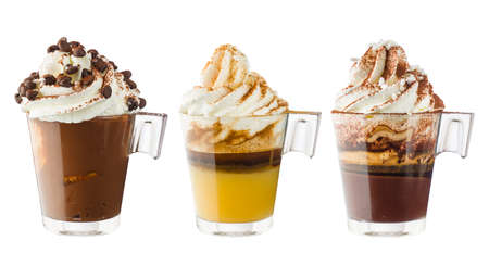 Collection of cups of coffee with whipped cream, isolated on white.