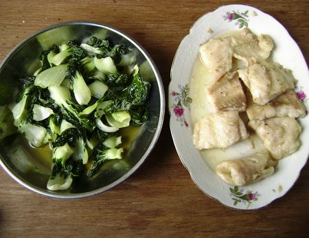 topdown: Grilled flounder fish fillet dinner with fried vegetable