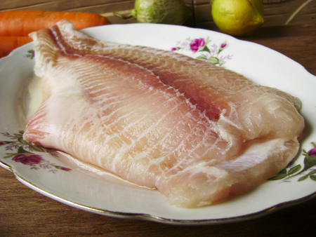 topdown: Raw fish fillet Stock Photo