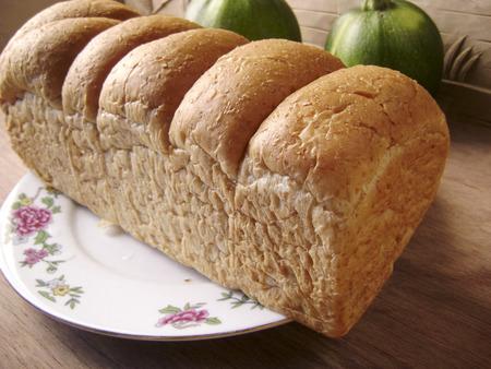 long loaf: Fresh bakery long loaf bread roll breakfast.