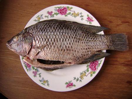 crucian: Crucian fish for cooking in kitchen.