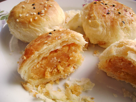 savory: Savory pastry rolls with egg yolk filling.