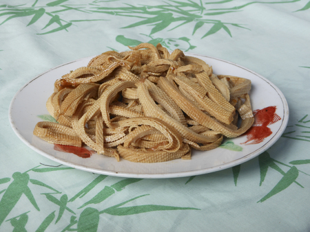 A plate of stir fry beef tripe Banque d'images