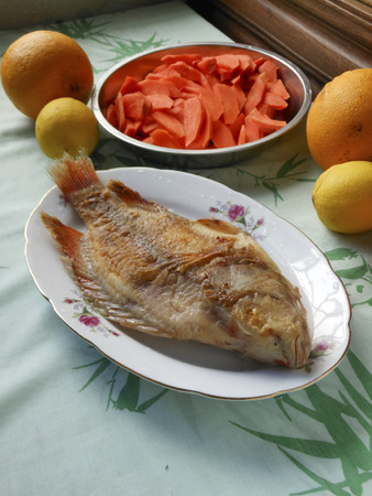 A plate of deep-fried fish