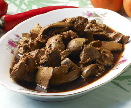 Stir fry chicken liver with soy sauce