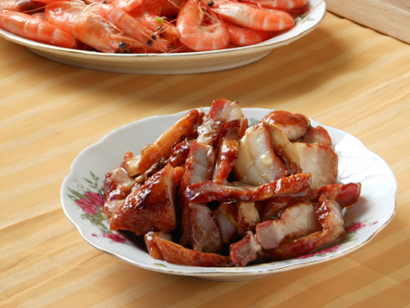 hoisin: Chinese popular course char siu in banquet. Stock Photo