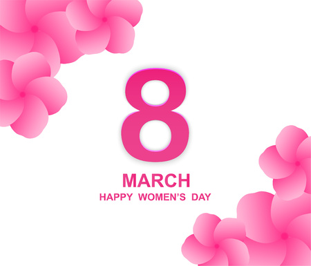 8 march. Happy Womans Day. Card design with paper art and pink flowers, pink-white background Illustration