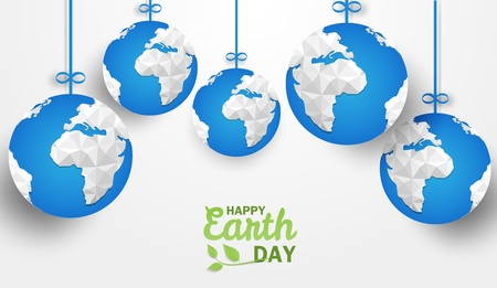 Happy earth day . Ecology concept, Design with blue globe origami hanging on white background. Vector.