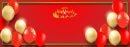 Merry Christmas. Design with red, gold balloons party on red background Vector illustration.