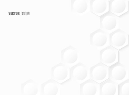 Abstract. Hexagon geometric square paper white background, light and shadow. Vector. Ilustrace
