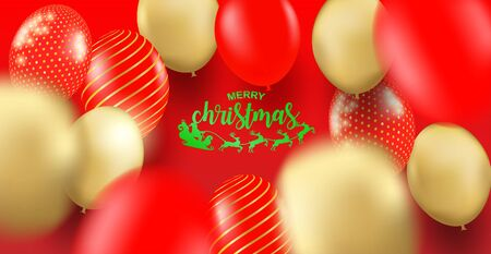 Merry Christmas. Design with red, gold balloons party on red background .Vector illustration.