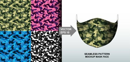 Abstract. Army camouflage pattern colorful background pattern seamless design for mask face, pillow, print, fashion, clothing, fabric, gift wrap. mockup template mask face seamless pattern. Vector.
