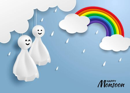 Happy monsoon, Rainy Season background .Doll chasing rain hanging and cloud on blue sky. paper art style.vector.  向量圖像