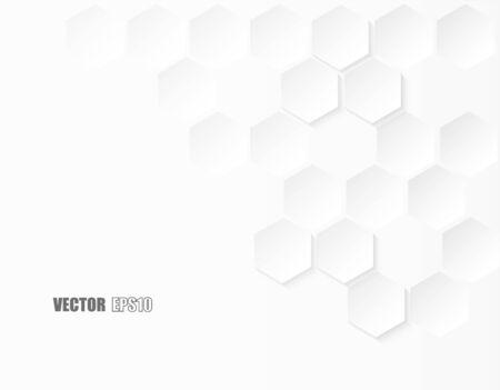 Résumé. Hexagone en relief, fond blanc en nid d'abeille, lumière et ombre. Vecteur.