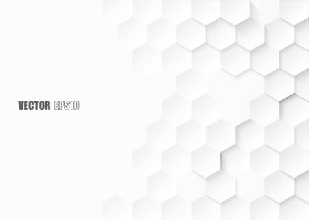 Abstract. Embossed Hexagon , honeycomb white background ,light and shadow . Vector.