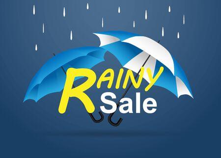 Rainy season sale. raining drops, umbrella with blue background. Vektorové ilustrace