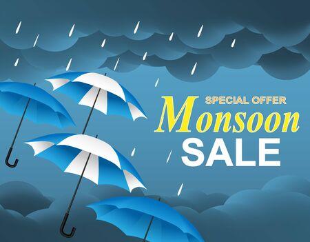 monsoon season sale. design with raining drops, umbrella and rain clouds on blue background. vector.