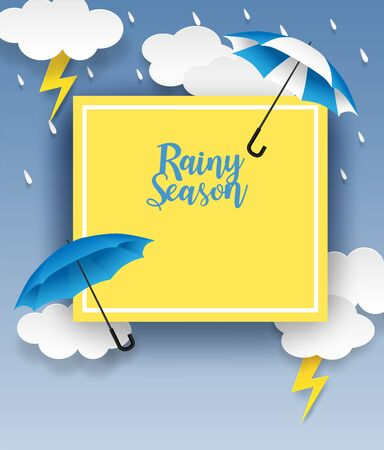 Rainy season. design with raining drops, umbrella and clouds on blue background. vector.