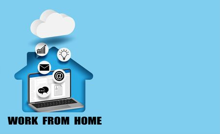 Work from home concept. laptop in home working with cloud technology. Vector.