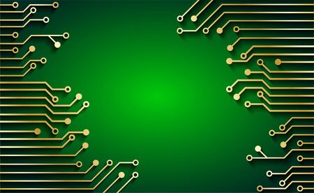 Circuit Board Technology Concept  Background.  Gold circuit board . green background. light and shadow .vector. Illustration.